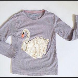 Mini Boden swan shirt 6-7 light purple long sleeve